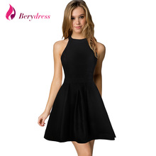 Berydress New Arrival Womens Cute Wedding Cocktail Sexy Nightclub Halter Neck Blackless A-Line Black Dress Short 2017(China)