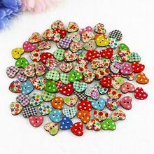 2015 New 100 Multicolor Heart Shaped 2 Holes Wood Sewing Buttons Scrapbooking Knopf Bouton  591W