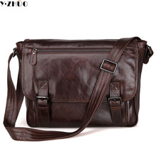 100% really cowhide men shoulder bags business genuine leather crossbody Laptop bag vintage men messenger bags briefcase