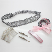 Women's hair accessories set beads bobby pins pearl hair comb fancy ponytail holders lace headband plastic hair barrette set