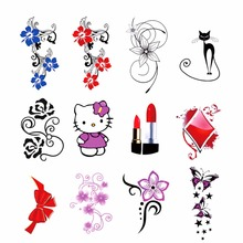 WUF 1 Sheet Water Transfer Nails Sticker Flower Cat Bow etc Designs Decals Nails Wraps Temporary Tattoos Watermark Nail Tools(China)