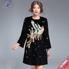2017 Fashion Winter Runway Designer Coats Women Phoenix Embroidered O Collar Black Wool Outerwear Plus Size Overcoat Free DHL(China)