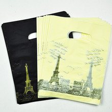 15*20cm Black /Yellow Tower Pattern Plastic Shopping Bags With Handle100pcs Plastic Gift Bags Packaging Bags With Handle Jewelry(China)