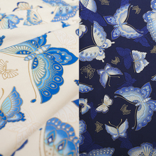 LEO&LIN 2017 Retro DIY Butterfly White Blue Printing Clothing Cotton Cloth Patchwork Cotton Fabric Tissus ONLY 50cm 50%OFF