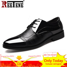 REETENE 2018 Formelle Chaussures Hommes Bout Pointu Hommes Robe Chaussures En Cuir Hommes Oxford Chaussures Formelles Pour Hommes Mode Robe Chaussures 38-48(China)