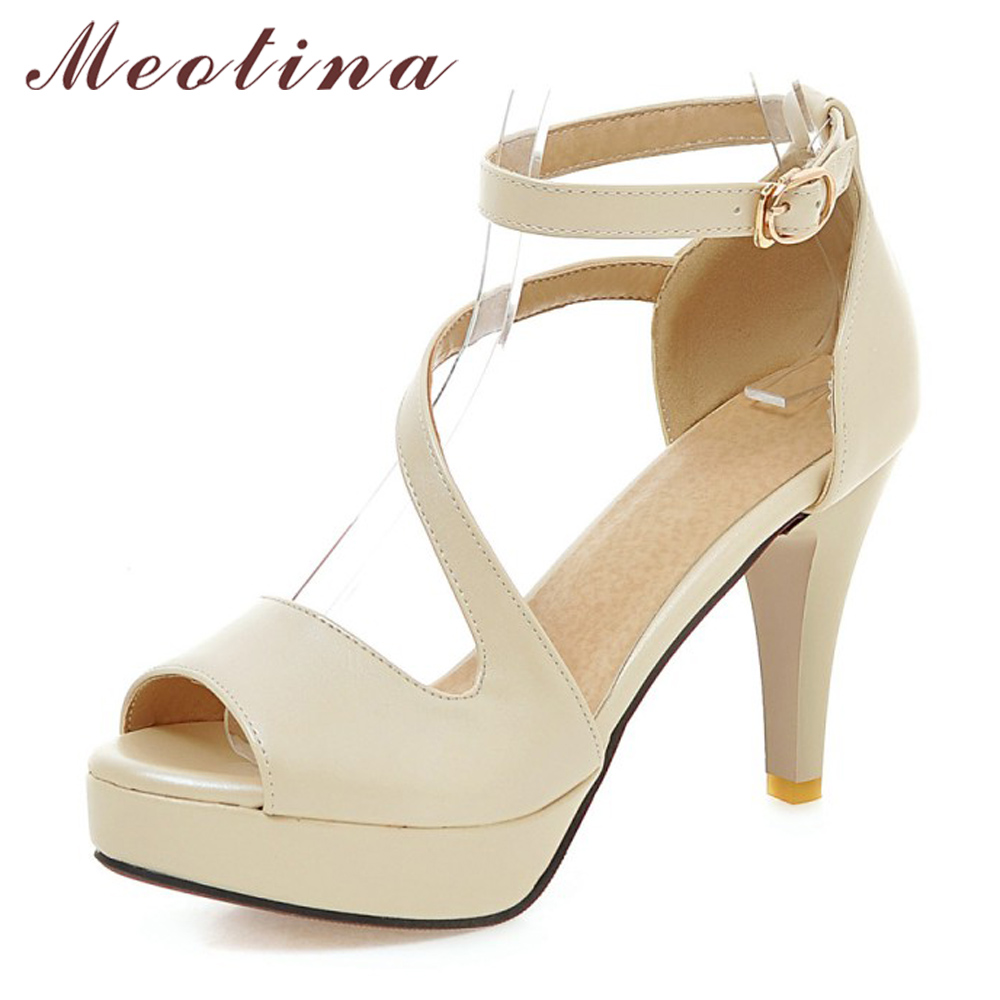 Meotina Shoes Women Summer Shoes Gladiator Sandals Women High Heels Sandals Open Toe Platform Ladies Shoes Beige White Size 9 43(China)