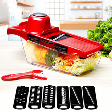 10pcs/set Creative Nicer Slicer Vegetable Cutter Stainless Steel Blade Mandoline Manual Slicer Potato Peeler Carrot Grater Dicer(China)