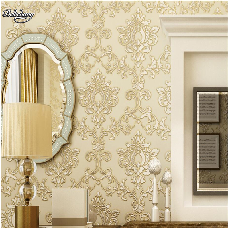 beibehang  European luxury Damascus wallpaper background wall 3d dark stereo bedroom living room TV wall wallpaper nonwovens<br>