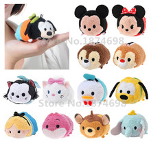 Tsum Tsum Mini Plush Mickey Minnie Donald Goofy Pluto Chip and Dale Bambi Dumbo Figaro Marie Alice Cheshire Cat Stuffed Toy Doll