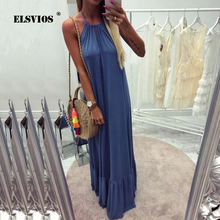 Buy ELSVIOS New Women Elegant Maxi Dress Sexy Backless Halter Beach Long Boho Dress Casual Solid Loose Summer Ruffle Dresses Vestido