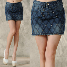 Spring Summer Fashion Womens Slim Fit Pencil Denim Skirt , Female Ladies Casual Stylish Embroidery Blue Jeans Skirts For Women