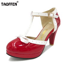 TAOFFEN Size 32-48 Women High Heel Sandals Round Toe Square Heels Shoes Women's Platform Sandals bow Wedding Shoes Footwear(China)