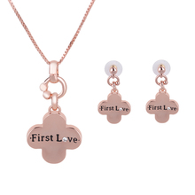 2016 African jewelry set popular Rose Gold Color  pendant Plants form one Crystal  Necklace Earring The English alphabet loves