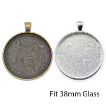 10pcs Fit 38mm Glass Cabochon Setting Silver Plated Round Blank Tray Base Bezel Pendant Settings DIY Jewelry Findings