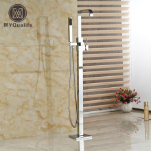 Bathroom Floor Mount Free Standing Bathtub Filler Bath Tub Faucet Chrome Finish with ABS Handshower