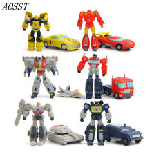 (AOSST)12pcs/lot POP Anime Transformers PVC Bumble bee Skyreach pillar Toys Car decoration Christmas Gifts For Children