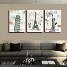 3 Panel Home Decor Canvas Painting Vintage City Views Pisa Tower Effiel Tower Liberty Decor Pictures On Wall Post Art No Frame