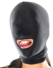 Happygo, Fetish Fantasy Lightweight Spandex Open Mouth Mask Hood Muzzles Head Harness Master Slave Role Play Adult Game H-448(China)