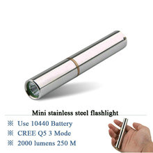 CREE Q5 LED Torchlight Flashlight lantern Stainless Steel Rechargeable Torches