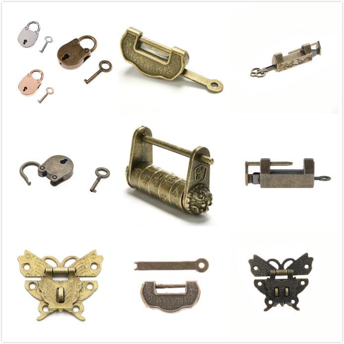 Chinese Traditional Vintage Padlock Jewelry Wooden Box Padlock Lock And Key SM
