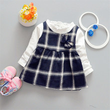 2017 spring new girl child A-Line dress plaid foreign trade bow Korean  Factory direct wholesale