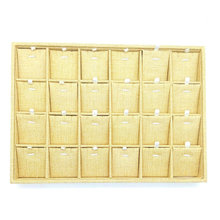 24 lattice Linen Jewelry Display Tray Necklace Holder Pendant Storage Box Ring Earring Case Bracelet Organizer Bangle Showcase(China)