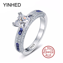 YINHED Luxury Princess Cut 1 Carat CZ Diamant Wedding Ring Set Solid 925 Sterling Silver Baroque Ring Women Jewelry R219(China)