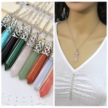 Free shipping! wholesale Silver Imitation quartz statement rivet Hexagonal column stone necklace summer style jewelry