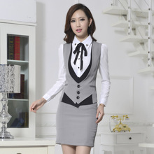 3 Pieces Skirt suits Blazer Vest Mini Step skirt Women Formal Clothing Sets  female business suit office uniform OL Wear