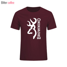 Mens t shirts fashion 2017  Browning Firearms Vertical Logo Graphic T Shirt Cotton round collar short sleeve tee shirts