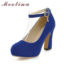 Meotina Shoes Women Thick High Heels Pumps Platform Shoes Ankle Strap Pumps Ladies Shoes 2017 Spring Dress Heel Blue Big Size 43(China)