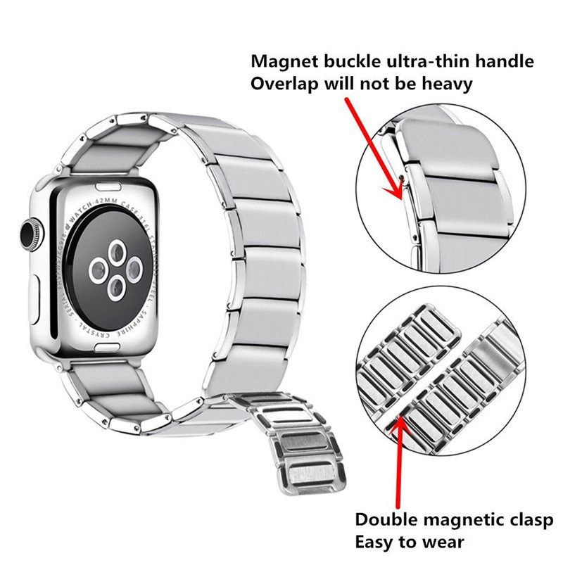 Luxury stainless steel watch band for apple series 1 2 3 watch strap 38-42 mm reloj hombre marca de lujo heren horlogewatcha bracelet (5)