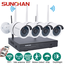 SUNCHAN 4CH CCTV System 960P NVR 4PCS 1.3MP 960P IR Outdoor P2P Wireless IP CCTV Camera Security System Camera Surveillance