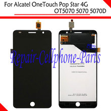 Black 100% New Full LCD DIsplay + Touch Screen Digitizer Glass Lens Assembly For Alcatel OneTouch Pop Star 4G OT5070 5070 5070D