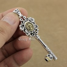 925 Sterling Silver Virgin Mary Skull Key Charms Pendant 9R017 ( Pendant Only )