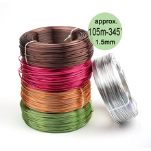 Wholesale 0.5kg Anodized Artistic Aluminum Craft Wire 1.5mm 14 Gauge 105m 115yd Colored Jewelry Soft Metal Wire Permanent Colors(China)