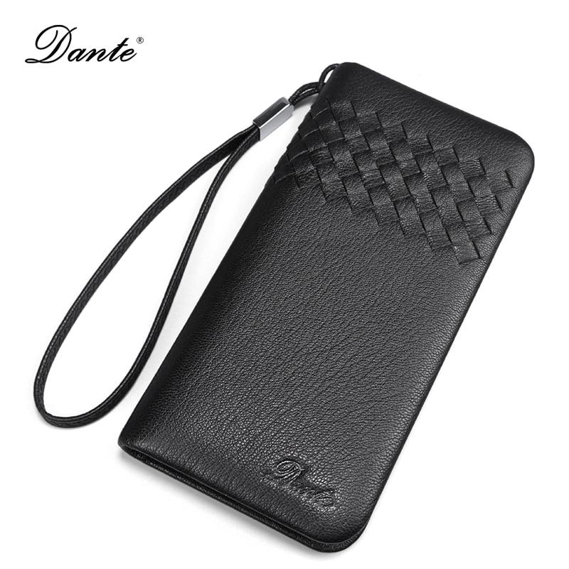 DANTE British Weave Style Soft Sheepskin Men Wallets Genuine Leather Business Card Holder Long Mens Wallet Clutch Coin Purse 009<br>