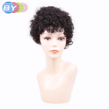 BY Hair Non-Remy Brazilian Hair Jerry Curl Natural Color Short Human Hair Wigs One Piece Free Shipping(China)