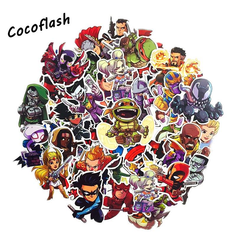 50 PCS Super Hero MARVEL Avengers Cartoon Sticker For Laptop Luggage Bags Bike  Cool Toys Doodle PVC Creative Stickers