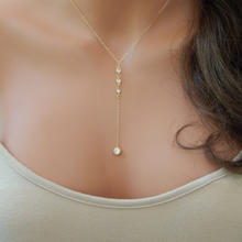 Gold CZ Lariat Necklace, Gold  Y Necklace, Wedding Lariat Necklace  XL136