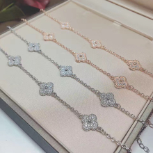 925 Sterling Silver Jewelry For Women Bracelet Classic Clover Fine Jewelry Romantic Four Leaf Clover Bracelet Rose Gold Color