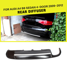 PU Car Rear Bumper Diffuser With Single Outlet Dual Exhaust For Audi A4 B8 Sedan 4-Door 2009-2012