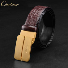 Ciartuar men's belt original leather belts for men high quality designer men high qualiyt belt solid brass buckle men +free gift(China)