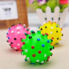 Sale 1Pc Colorful Dumbbell Dog Toys Sound Squeeze Squeaky Faux Bone Pet Chew Toys For Dogs Gift(China)