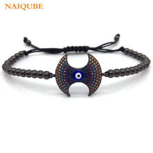 NAIQUBE New Arrive Double Axe Micro Pave Color CZ Men Women Braided Macrame Charm Bracelet Luxury Jewelry Gift(China)