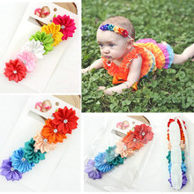 Hot Sale girls Multicolor Satin Flower Headbands Hairband girls Kids Hair Accessories 12pcs/lot Freeshipping