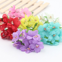 12pcs/lot Silk Cherry Blossoms Small Artificial Poppy Bouquet Wedding Decoration Mini Rose Flowers For DIY Scrapbooking