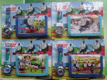 1Pcs Thomas&Friends Cartoon Child Quartz Wrist Watch/Clock with One Purse/Wallet/Pocket for Boys and Girls, Kids Birthday Gift