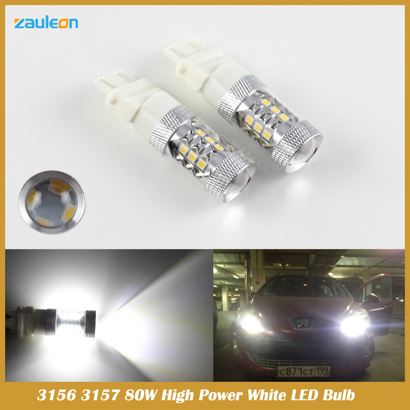 2pcs T25 3157 80W High Power LED 16SMD Super Bright White Fog Tail DRL Head Light Lamp Bulb<br><br>Aliexpress