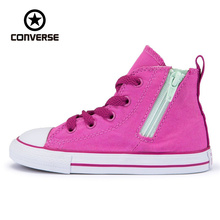 Original Converse all stars shoes kids girls sneakers canvas shoes all pink high classic Skateboarding Shoes(China)